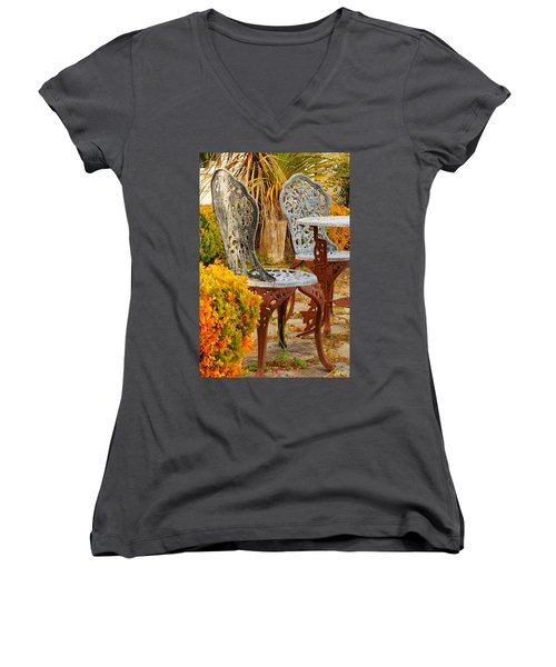 Bistro Table-color Women's V-Neck (Athletic Fit)