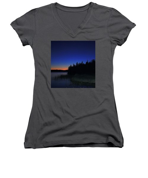 Black And Blue Sky Women's V-Neck (Athletic Fit)