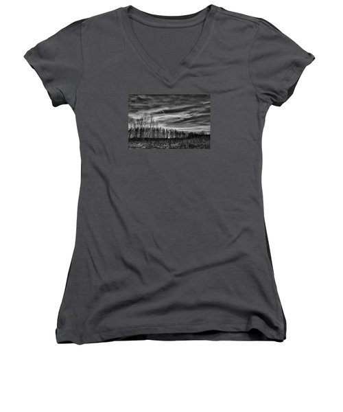 Black And White Grongarn Sky December 16 2014 Colouring The Clouds  Women's V-Neck (Athletic Fit)