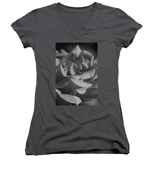 Black And White Morning Rose Women's V-Neck T-Shirt