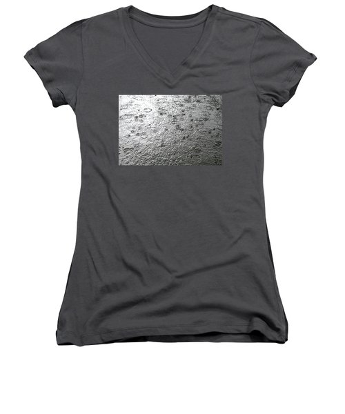 Black And White Rain Women's V-Neck T-Shirt (Junior Cut) by Leena Pekkalainen