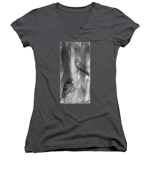 Black And White Ravens Women's V-Neck T-Shirt