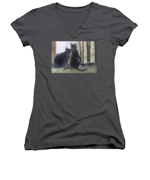 Black Cats  Women's V-Neck (Athletic Fit)