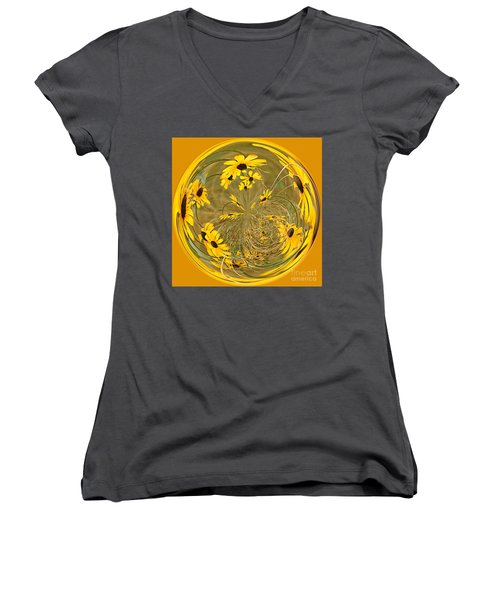 Black Eyed Susans Women's V-Neck (Athletic Fit)