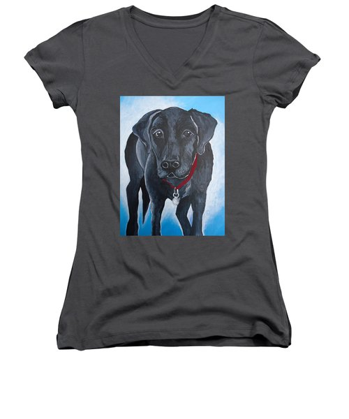 Black Lab Women's V-Neck T-Shirt (Junior Cut) by Leslie Manley
