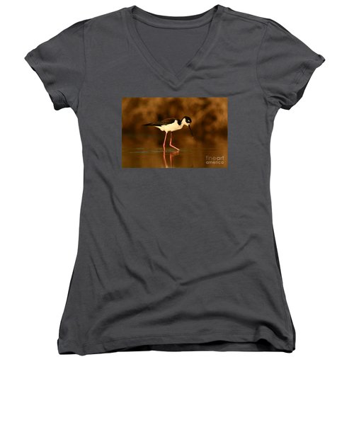 Women's V-Neck T-Shirt (Junior Cut) featuring the photograph Black-necked Stilt Waterdrops by John F Tsumas