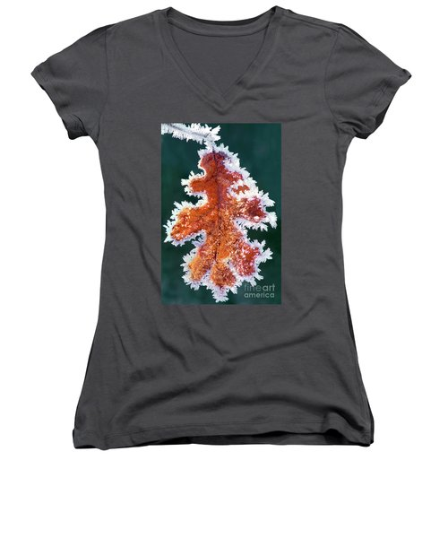 Women's V-Neck featuring the photograph Black Oak Leaf Rime Ice Yosemite National Park California by Dave Welling