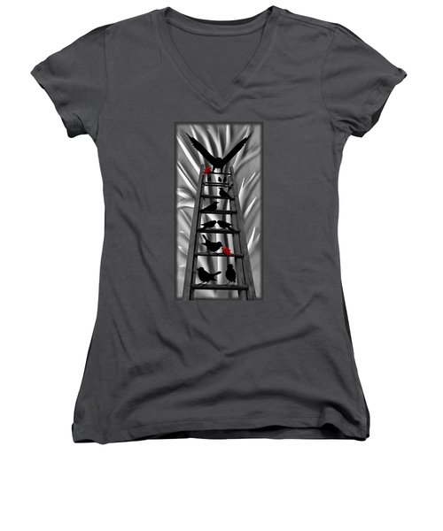 Women's V-Neck featuring the mixed media Blackbird Ladder by Barbara St Jean