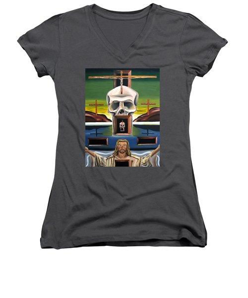Blasphemixition Women's V-Neck T-Shirt (Junior Cut) by Ryan Demaree
