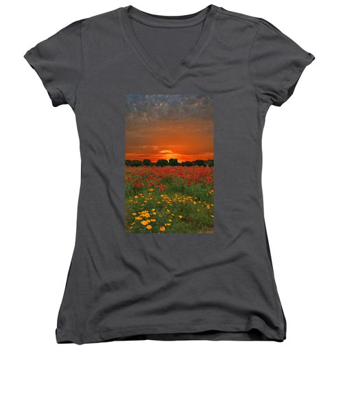 Blaze Of Glory Women's V-Neck T-Shirt