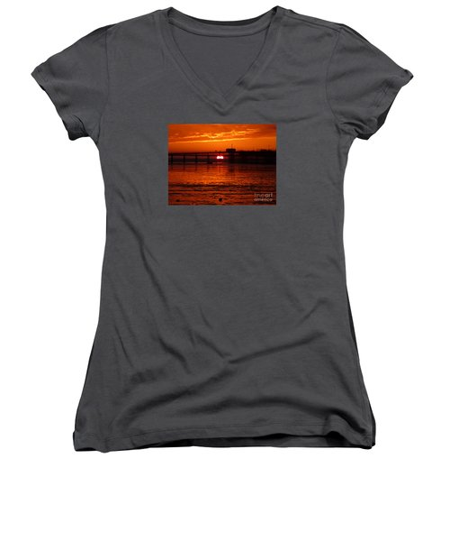 Women's V-Neck T-Shirt (Junior Cut) featuring the photograph Blazing Sunset by Vicki Spindler
