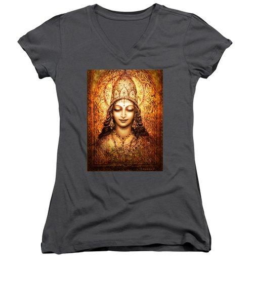 Women's V-Neck T-Shirt (Junior Cut) featuring the mixed media Blissful Goddess by Ananda Vdovic