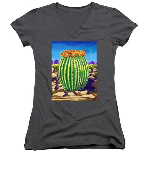 Women's V-Neck T-Shirt (Junior Cut) featuring the painting Blooming Barrel Cactus by Tim Gilliland