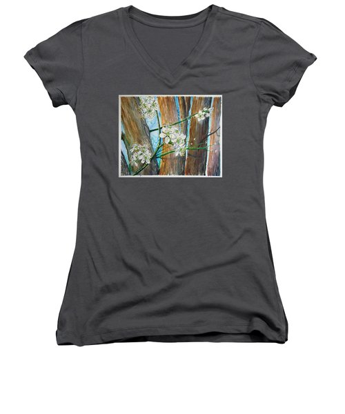 Blooms Of The Cleaveland Pear Women's V-Neck