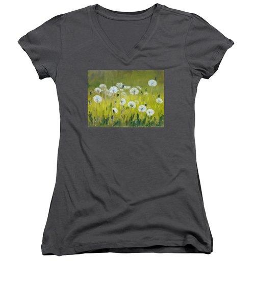 Blow Balls Women's V-Neck T-Shirt (Junior Cut) by Irek Szelag