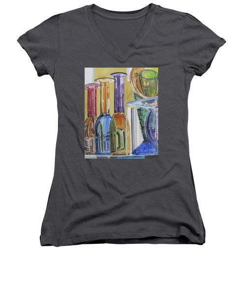 Blown Glass Women's V-Neck T-Shirt (Junior Cut)