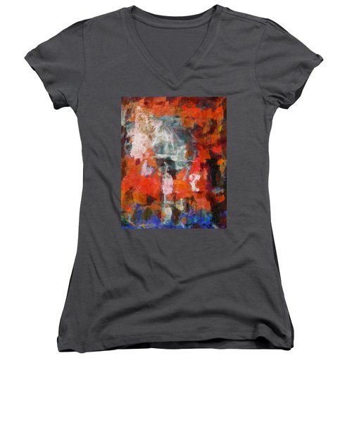 Women's V-Neck T-Shirt (Junior Cut) featuring the digital art Blows Away In The Wind by Joe Misrasi