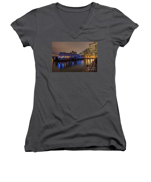 Blue And Gold Night Women's V-Neck T-Shirt