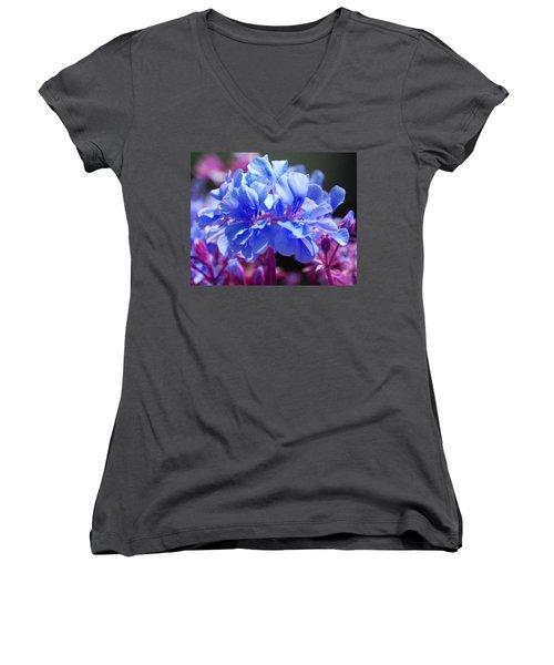 Blue And Purple Flowers Women's V-Neck T-Shirt (Junior Cut) by Matt Harang