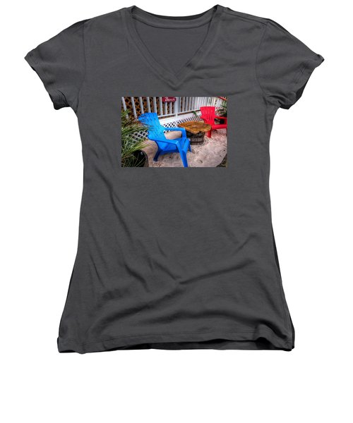 Blue And Red Chairs Women's V-Neck T-Shirt (Junior Cut) by Michael Thomas