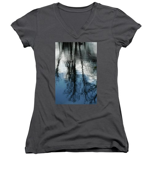 Blue And White Reflections Women's V-Neck