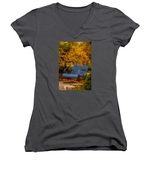 Blue Bench - Autumn - Deer Isle - Maine Women's V-Neck T-Shirt (Junior Cut)