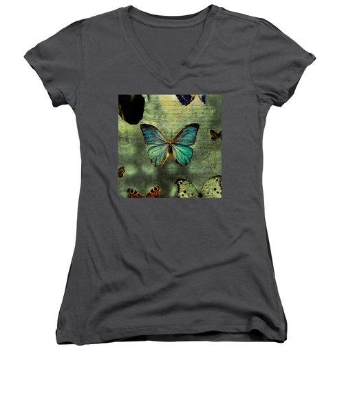 Blue Butterfly Women's V-Neck