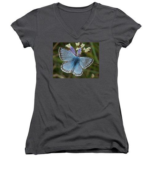 Blue Butterfly Women's V-Neck T-Shirt (Junior Cut) by Ron Harpham