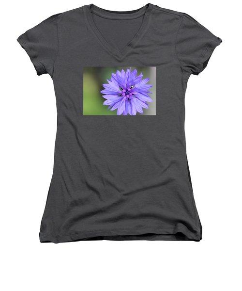 Blue Button Women's V-Neck T-Shirt