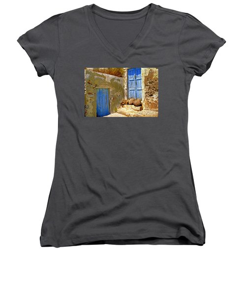 Blue Doors Of Santorini Women's V-Neck (Athletic Fit)