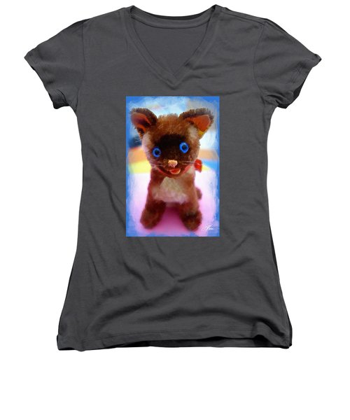 Blue Eyed Kitty Women's V-Neck T-Shirt (Junior Cut) by Joan Reese