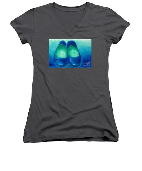 Women's V-Neck T-Shirt (Junior Cut) featuring the painting Blue Flats by Marisela Mungia