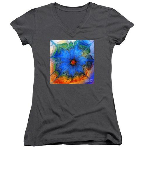 Blue Flower Dressed For Summer Women's V-Neck (Athletic Fit)