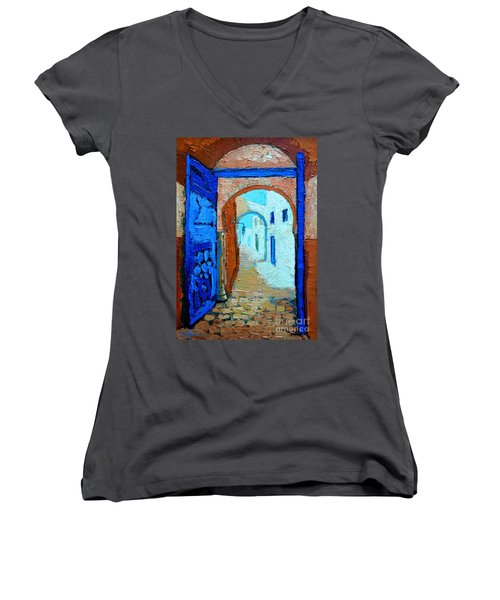 Women's V-Neck T-Shirt (Junior Cut) featuring the painting Blue Gate by Ana Maria Edulescu