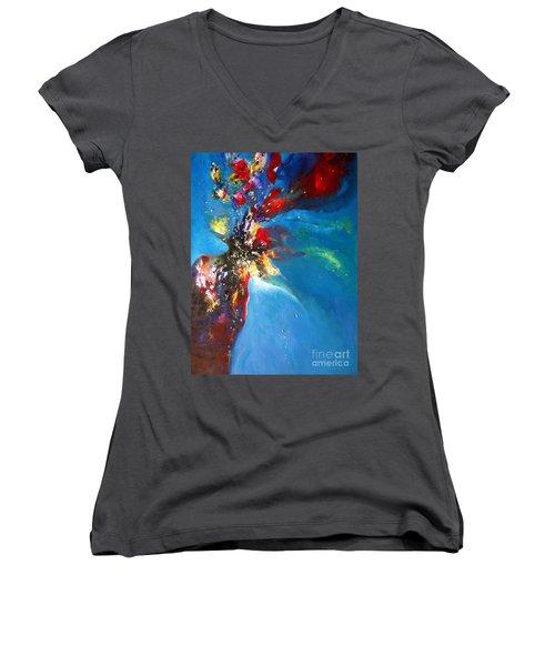 Blue Harmony  Women's V-Neck T-Shirt (Junior Cut) by Sanjay Punekar