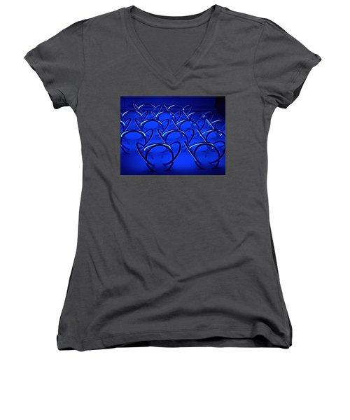 Women's V-Neck T-Shirt (Junior Cut) featuring the photograph Blue Haze Circles by Joan Reese