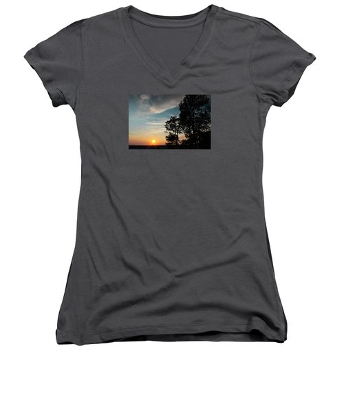 Women's V-Neck T-Shirt (Junior Cut) featuring the photograph Blue Heaven Sunset by Julie Andel
