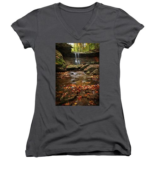 Women's V-Neck featuring the photograph Blue Hen Falls In Autumn by Dale Kincaid
