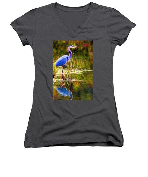 Blue Heron Women's V-Neck T-Shirt
