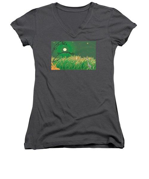 Blue Heron Grasses Women's V-Neck T-Shirt (Junior Cut) by Kim Prowse
