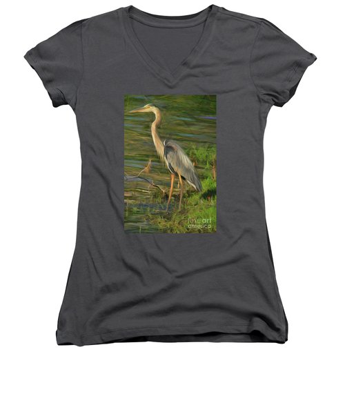 Blue Heron On The Bank Women's V-Neck
