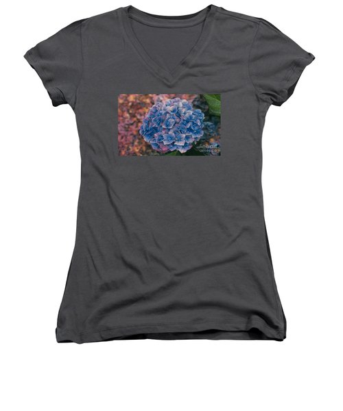 Blue Hydrangea Women's V-Neck T-Shirt (Junior Cut) by Heather Kirk