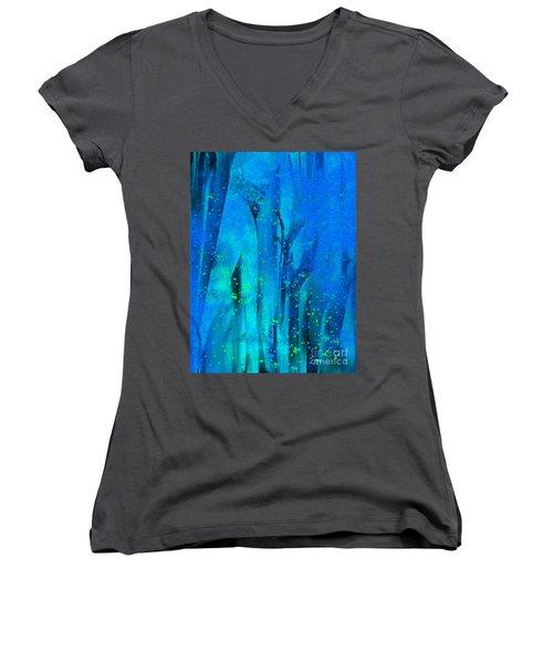 Feeling Blue Women's V-Neck T-Shirt (Junior Cut) by Yul Olaivar