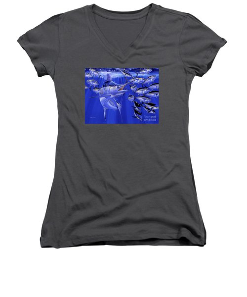 Blue Marlin Round Up Off0031 Women's V-Neck T-Shirt (Junior Cut)