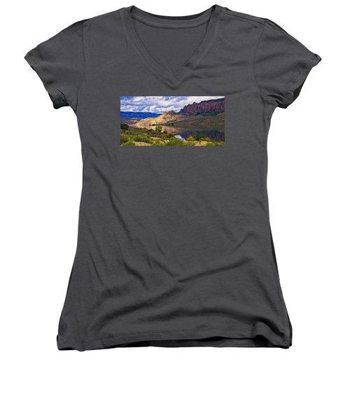 Blue Mesa Reservoir Digital Painting Women's V-Neck T-Shirt (Junior Cut) by Priscilla Burgers