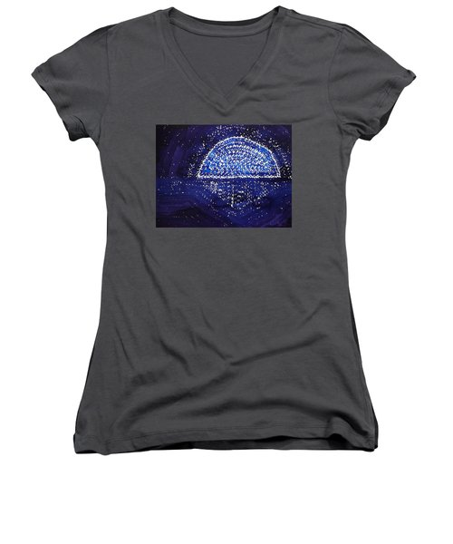 Blue Moonrise Original Painting Women's V-Neck T-Shirt
