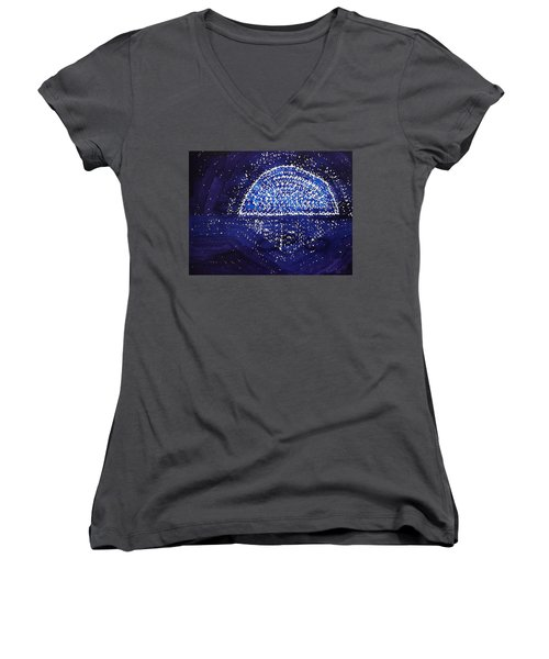 Blue Moonrise Original Painting Women's V-Neck (Athletic Fit)