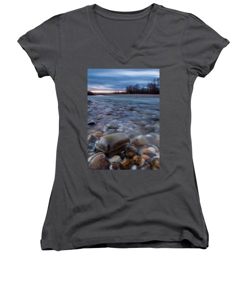 Women's V-Neck T-Shirt (Junior Cut) featuring the photograph Blue Morning by Davorin Mance