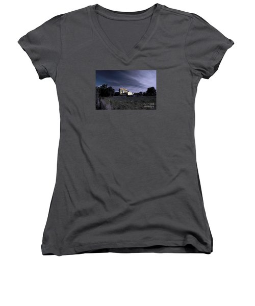 Women's V-Neck T-Shirt (Junior Cut) featuring the photograph Blue Night by Nareeta Martin