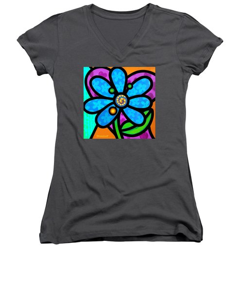 Blue Pinwheel Daisy Women's V-Neck T-Shirt